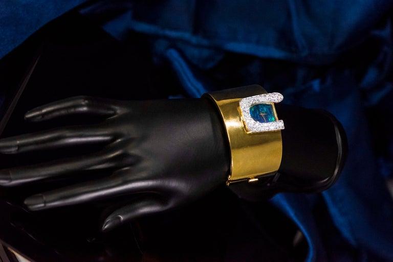 1970s Ebel 18Kt Gold & Platinum Diamond Set Opal Cuff Bangle Bracelet Watch For Sale 5