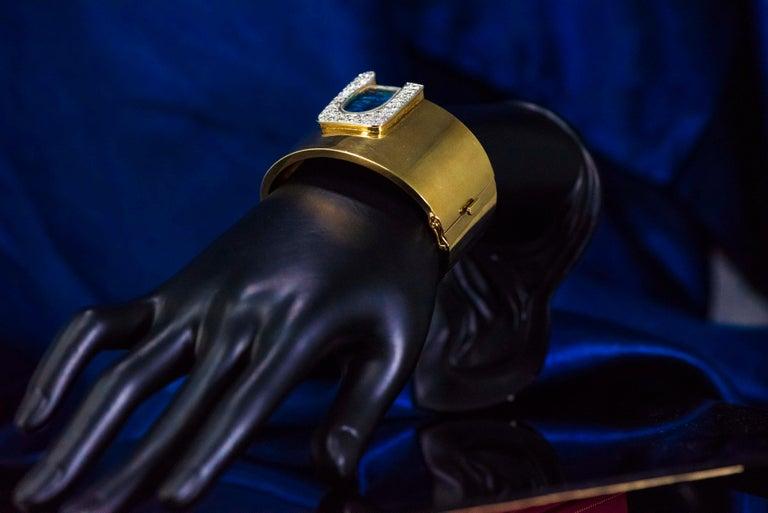 1970s Ebel 18Kt Gold & Platinum Diamond Set Opal Cuff Bangle Bracelet Watch For Sale 6