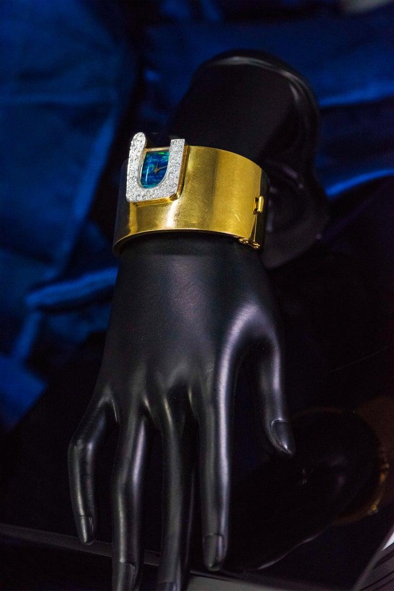1970s Ebel 18Kt Gold & Platinum Diamond Set Opal Cuff Bangle Bracelet Watch For Sale 7