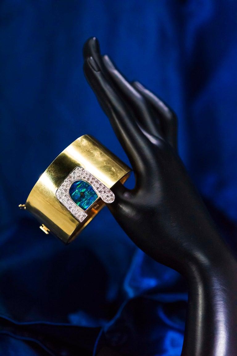 1970s Ebel 18Kt Gold & Platinum Diamond Set Opal Cuff Bangle Bracelet Watch For Sale 8