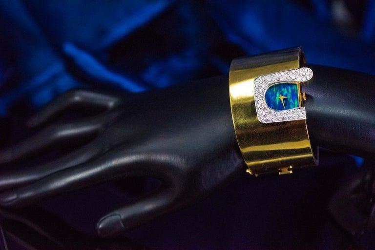 1970s Ebel 18Kt Gold & Platinum Diamond Set Opal Cuff Bangle Bracelet Watch For Sale 9