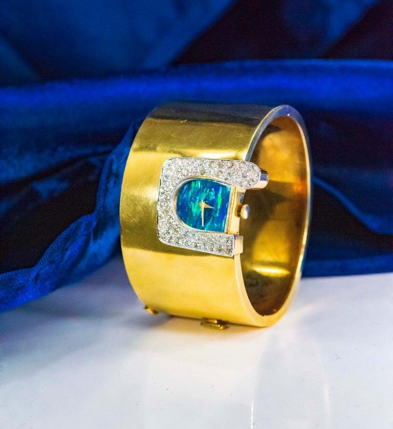 1970s Ebel 18Kt Gold & Platinum Diamond Set Opal Cuff Bangle Bracelet Watch For Sale 10