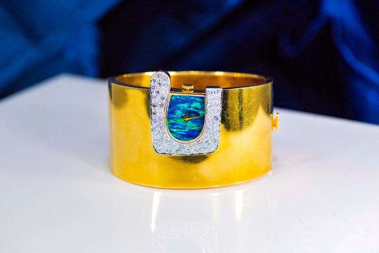 1970s Ebel 18Kt Gold & Platinum Diamond Set Opal Cuff Bangle Bracelet Watch For Sale 11