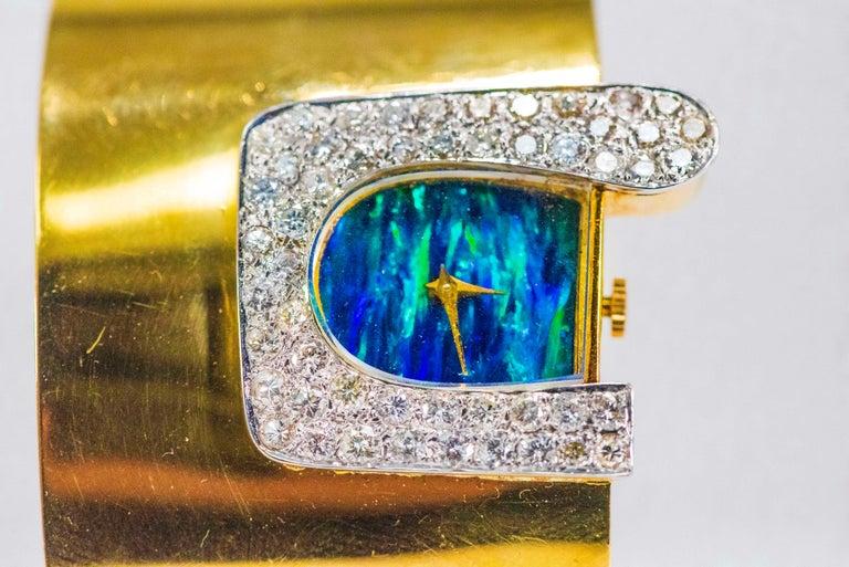 1970s Ebel 18Kt Gold & Platinum Diamond Set Opal Cuff Bangle Bracelet Watch For Sale 12