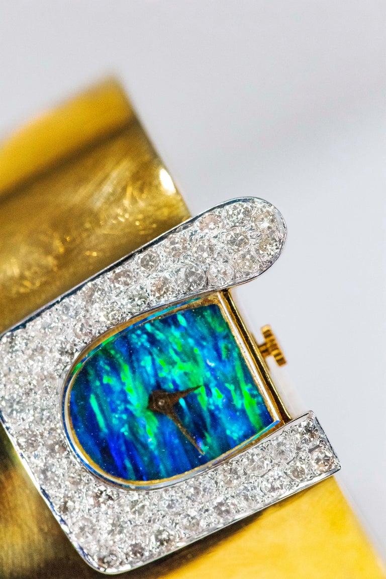 1970s Ebel 18Kt Gold & Platinum Diamond Set Opal Cuff Bangle Bracelet Watch For Sale 13