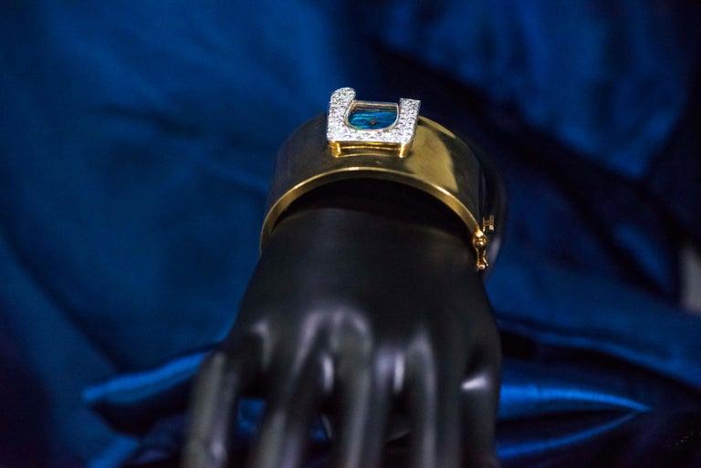 1970s Ebel 18Kt Gold & Platinum Diamond Set Opal Cuff Bangle Bracelet Watch For Sale 14