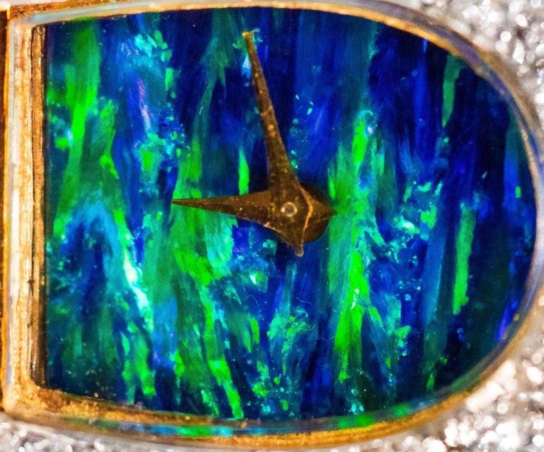 Contemporary  1970s Ebel 18Kt Gold & Platinum Diamond Set Opal Cuff Bangle Bracelet Watch For Sale