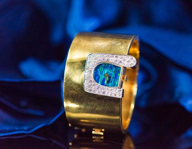 Round Cut  1970s Ebel 18Kt Gold & Platinum Diamond Set Opal Cuff Bangle Bracelet Watch For Sale