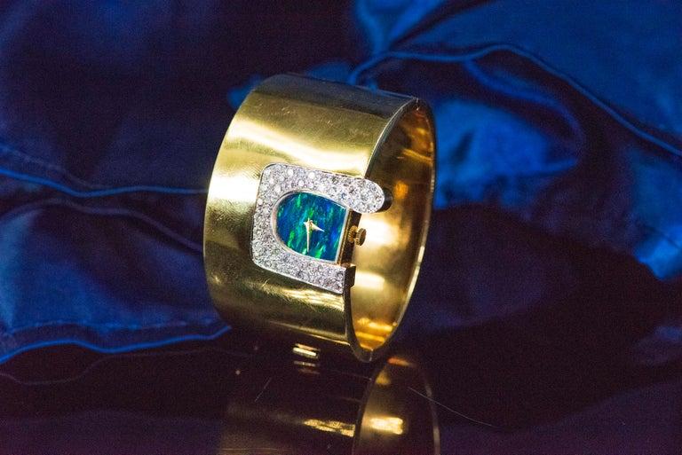 Women's or Men's  1970s Ebel 18Kt Gold & Platinum Diamond Set Opal Cuff Bangle Bracelet Watch For Sale