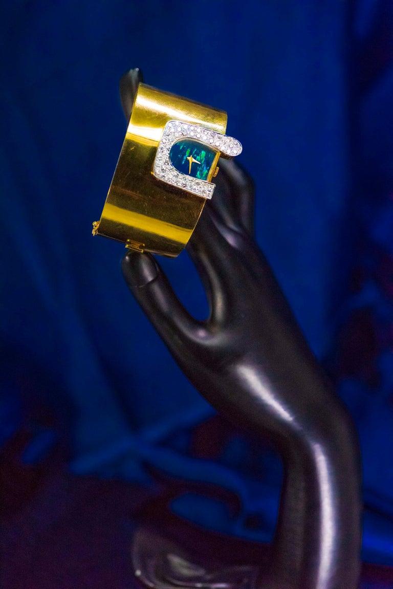 1970s Ebel 18Kt Gold & Platinum Diamond Set Opal Cuff Bangle Bracelet Watch For Sale 1