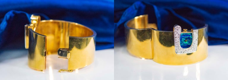 1970s Ebel 18Kt Gold & Platinum Diamond Set Opal Cuff Bangle Bracelet Watch For Sale 2