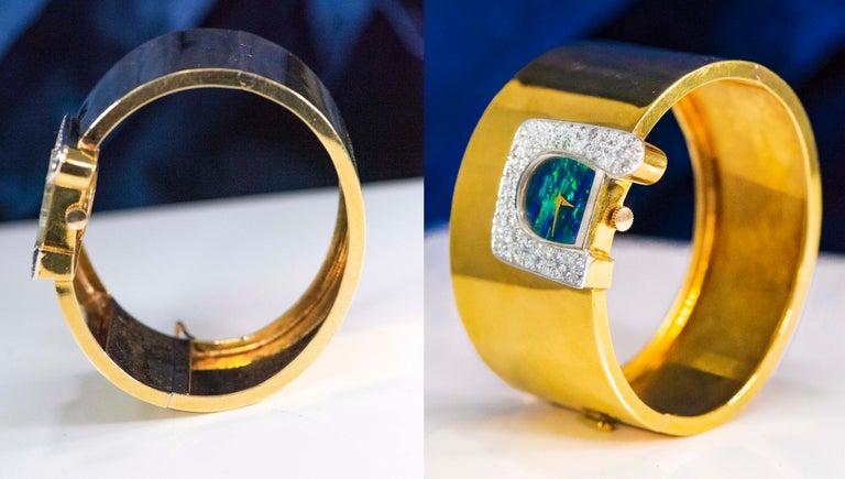 1970s Ebel 18Kt Gold & Platinum Diamond Set Opal Cuff Bangle Bracelet Watch For Sale 3