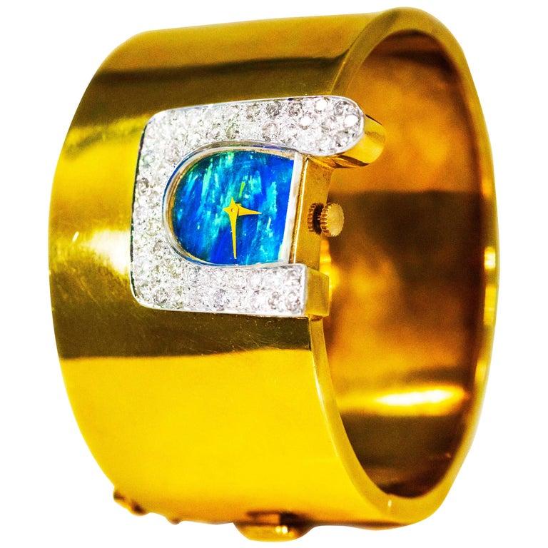 1970s Ebel 18Kt Gold & Platinum Diamond Set Opal Cuff Bangle Bracelet Watch For Sale