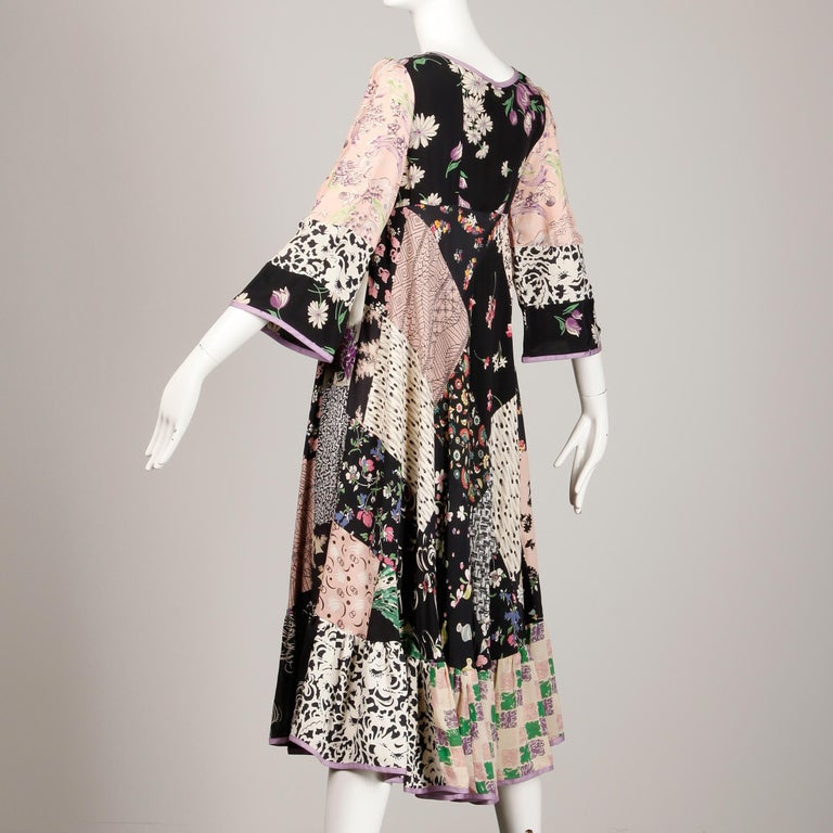 Rare 1970s Helga Howie Vintage Patchwork Dress In Excellent Condition In Sparks, NV
