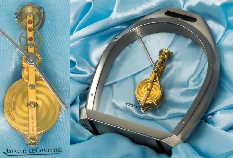 Women's or Men's Rare 1970s Jaeger Le Coultre Tourbillion Ruby Gold Stainless Steel Stirrup Clock For Sale