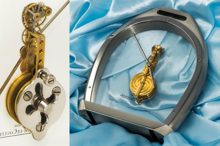 Rare 1970s Jaeger Le Coultre Tourbillion Ruby Gold Stainless Steel Stirrup Clock For Sale 1