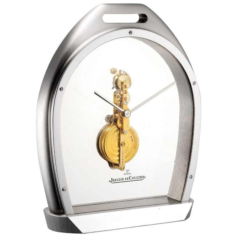 Rare 1970s Jaeger Le Coultre Tourbillion Ruby Gold Stainless Steel Stirrup Clock For Sale