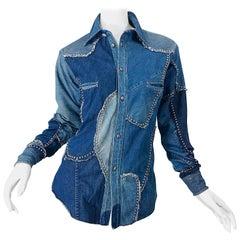 Rare 1970s Love, Melody Sabatasso Unisex Denim Blue Jean Patchwork 70s Shirt