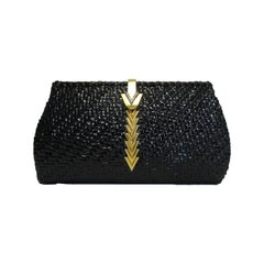 Rare 1970s Mario Valentino Black Glazed Wicker Clutch W/ Gold Logo Accent