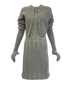 Rare 1970s Mr. John Stone Grey Cable Knit Set with Gloves