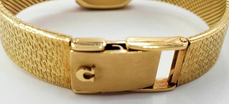 Omega 18 Karat Gold Diamond Set Double Tiger Eye Dial Bracelet Watch In Good Condition For Sale In New york, NY