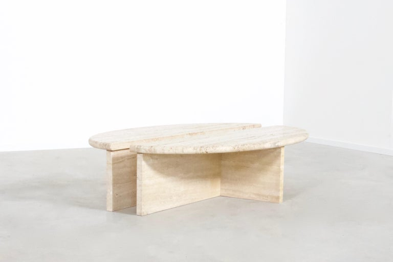 Bohemian Rare 1970s Oval Travertine Coffee Table by Up&Up
