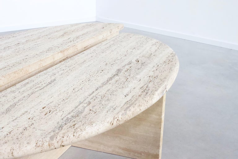 20th Century Rare 1970s Oval Travertine Coffee Table by Up&Up