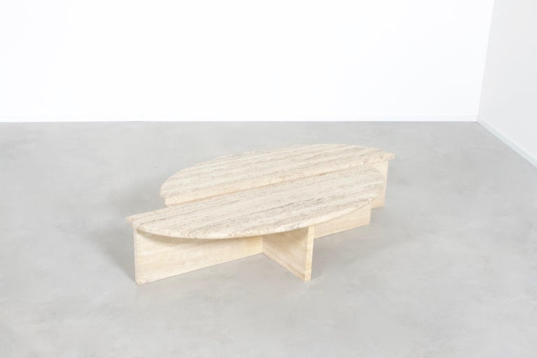 Rare 1970s Oval Travertine Coffee Table by Up&Up  1