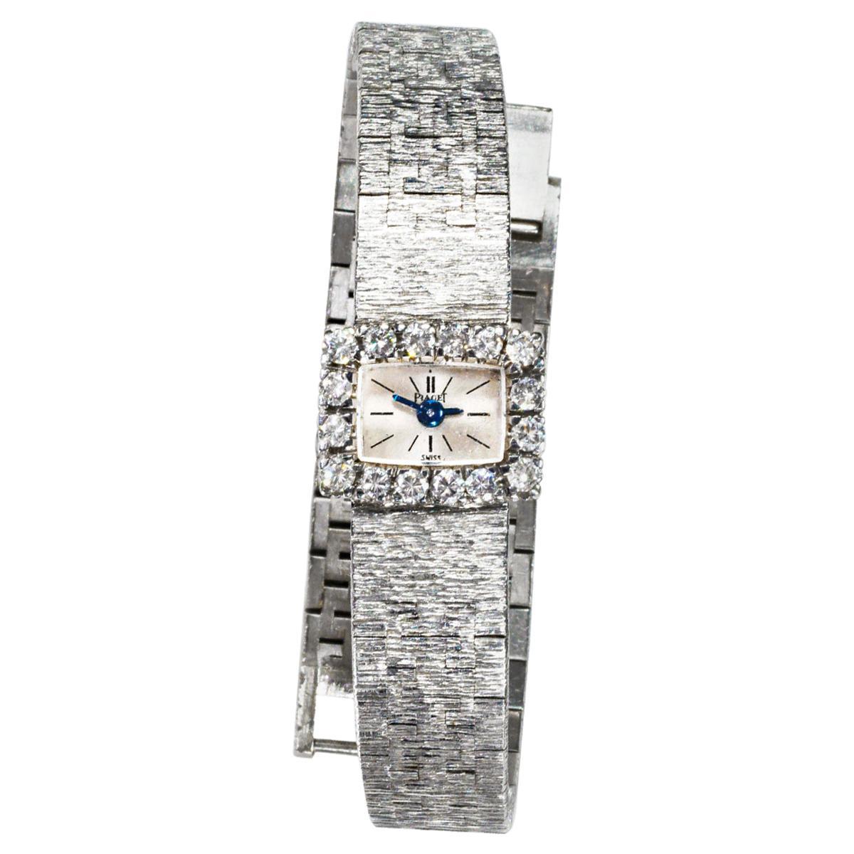 1970s Piaget 18 Karat White Gold Diamond Set Square Bracelet Wristwatch