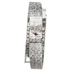 Rare 1970s Piaget 18 Karat White Gold Diamond Set Square Bracelet Wristwatch