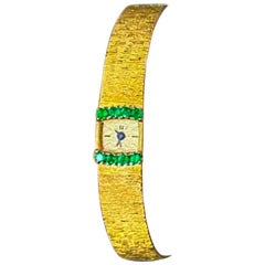 1970s Piaget Emerald 18 Karat Yellow Gold Line Bracelet Watch