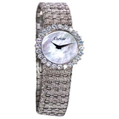 Rare 1970s Piaget for Cartier Diamond Pearl Dial Woven Textured Bracelet Watch