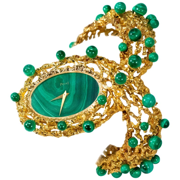 "Rare 1970s Piaget Malachite Dial Open Work Textured ""Manchette"" Bangle Watch For Sale"