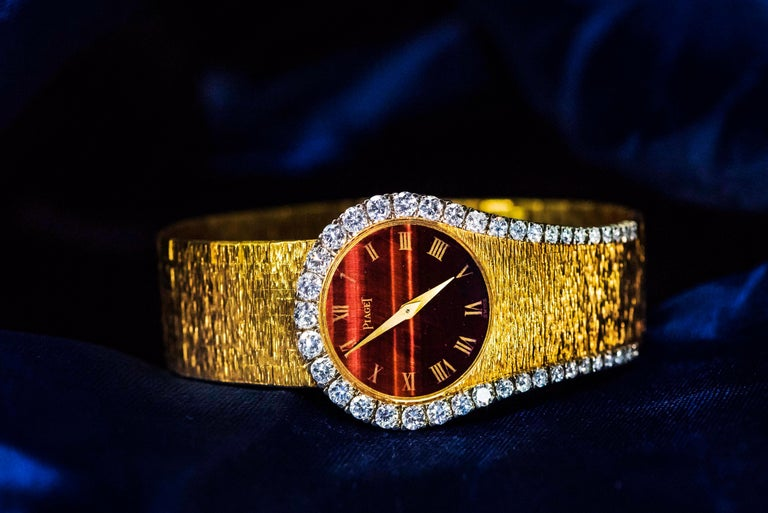 Very Rare Iconic 1970s 18kt Tiger Eye Hard Stone Dial & Diamond Set