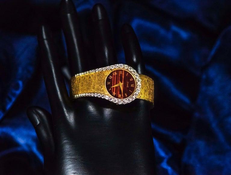 Contemporary Rare 1970s Piaget Tiger Eye Diamond Set