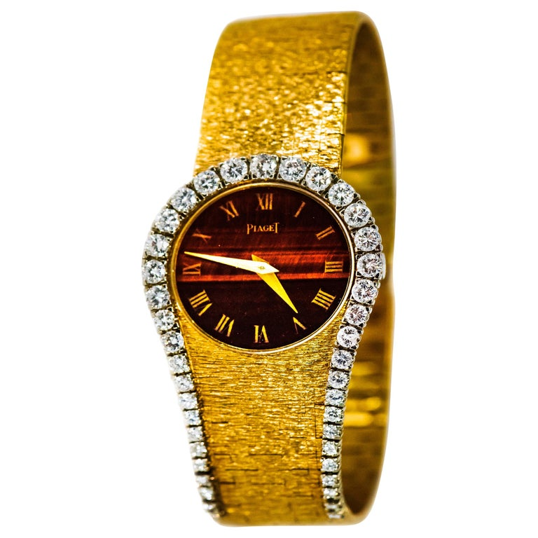 "Rare 1970s Piaget Tiger Eye Diamond Set ""Limelight"" Yellow Gold Bracelet Watch For Sale"