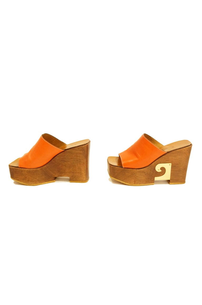 Women's Rare 1970s Pierre Cardin Orange Leather and Wood Platform Mules, Iconic  For Sale