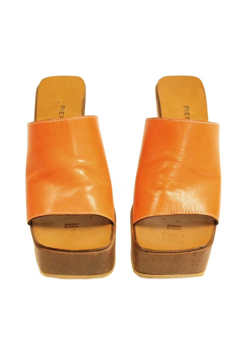 Rare 1970s Pierre Cardin Orange Leather and Wood Platform Mules, Iconic  For Sale 1