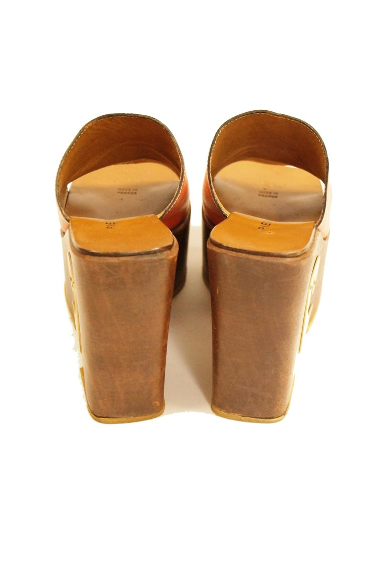 Rare 1970s Pierre Cardin Orange Leather and Wood Platform Mules, Iconic  For Sale 2