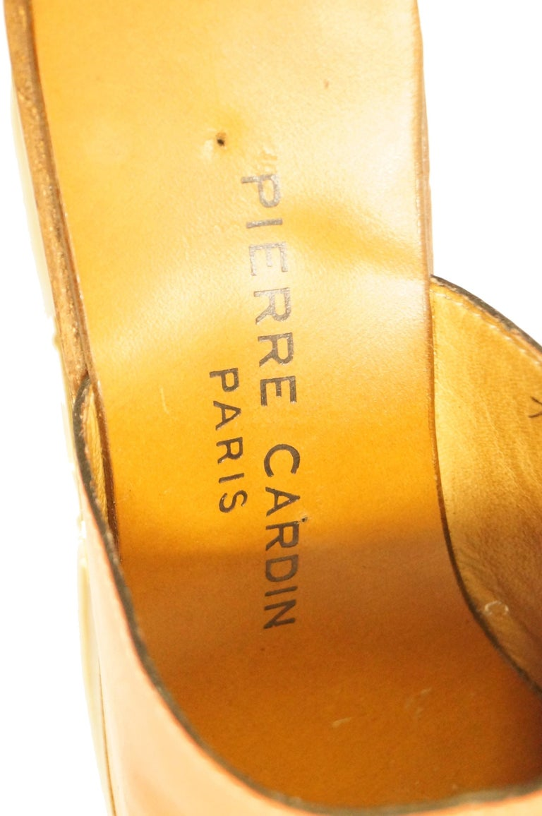 Rare 1970s Pierre Cardin Orange Leather and Wood Platform Mules, Iconic  For Sale 3