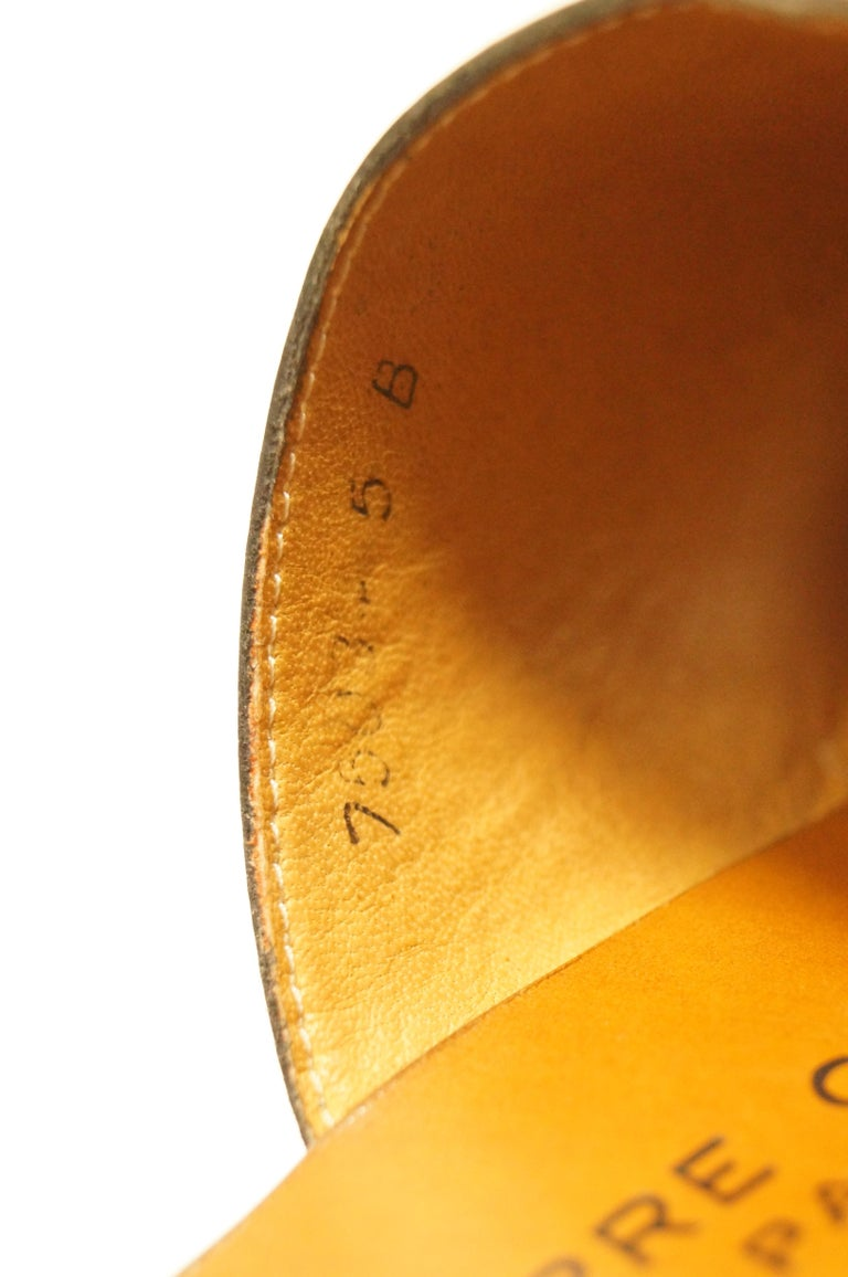 Rare 1970s Pierre Cardin Orange Leather and Wood Platform Mules, Iconic  For Sale 4