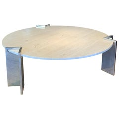 Rare 1970s Travertine and Steel Cocktail Table by Pace Collection