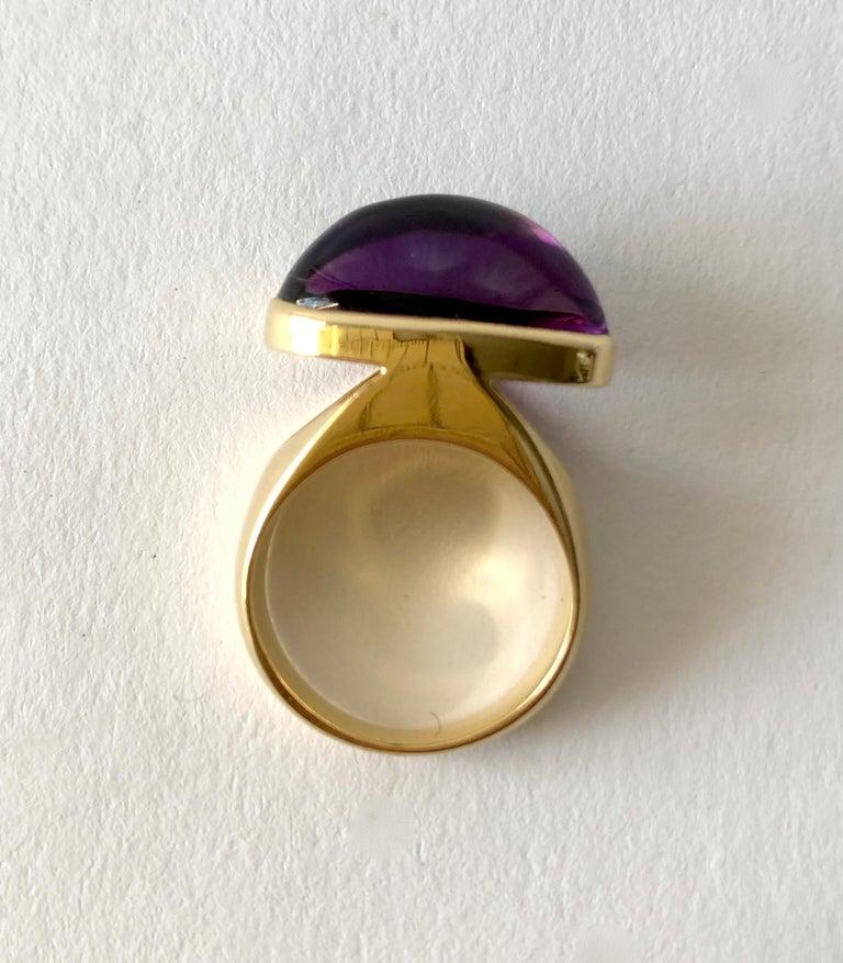 Modernist 1970s Tuk Fischer for Georg Jensen 18 Karat Gold Amethyst Danish Modern Ring For Sale