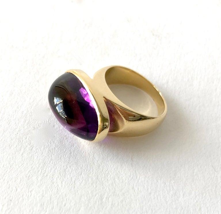 1970s Tuk Fischer for Georg Jensen 18 Karat Gold Amethyst Danish Modern Ring In Good Condition For Sale In Los Angeles, CA