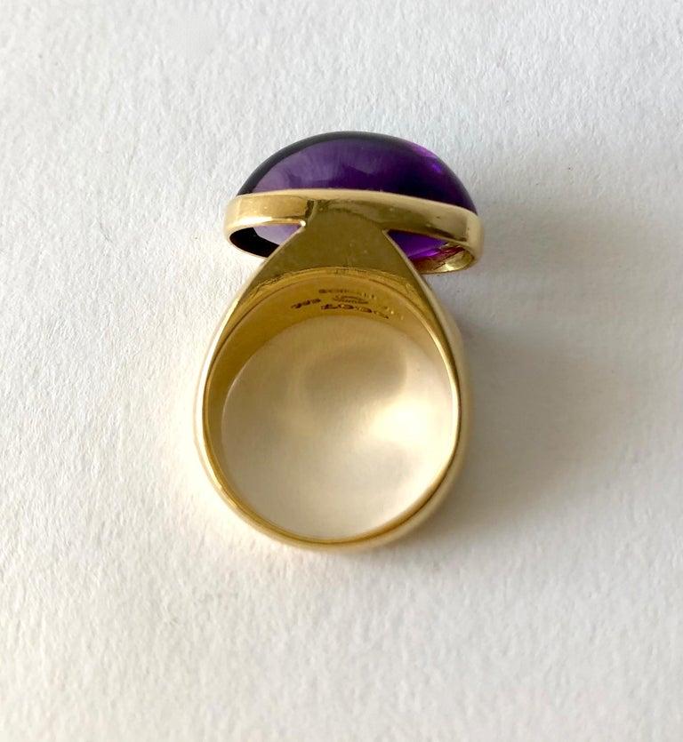 Women's 1970s Tuk Fischer for Georg Jensen 18 Karat Gold Amethyst Danish Modern Ring For Sale