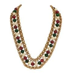 Rare 1970's Vintage Chanel Gripoix Jewel Gold Necklace