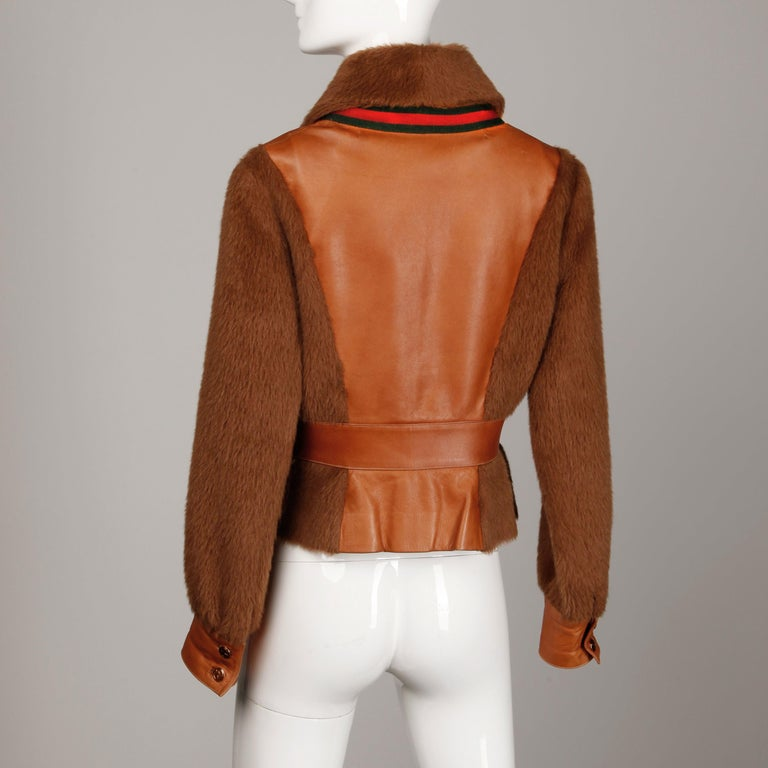 Rare 1970s Vintage Gucci Leather + Mohair Jacket For Sale 5