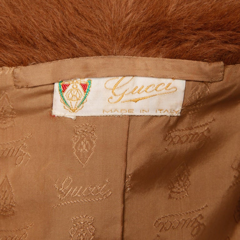 Very rare 1970s vintage Gucci jacket in leather and mohair! From the estate of Pamela Lewis (Jerry Lewis/ Gary Lewis). Fully lined with front zip closure and red/ green horse bit detail at the neck. The lining is a tan fabric and features an