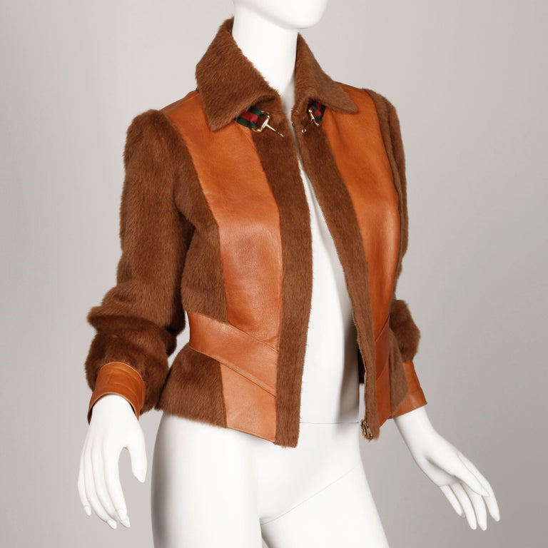 Brown Rare 1970s Vintage Gucci Leather + Mohair Jacket For Sale