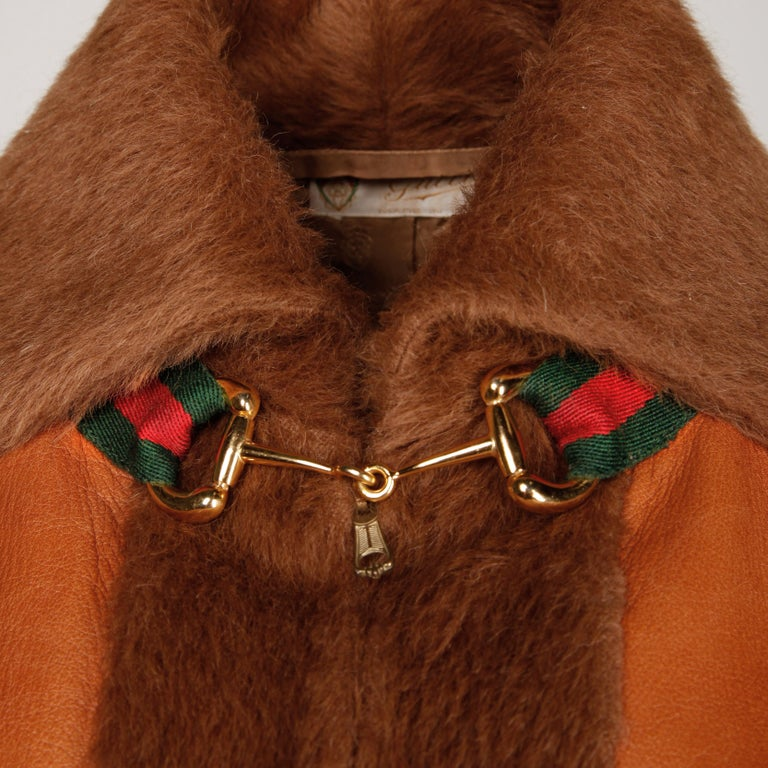 Rare 1970s Vintage Gucci Leather + Mohair Jacket In Excellent Condition For Sale In Sparks, NV